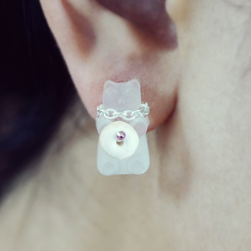 Bear With Me Vanilla Mini Donut - Single Earring - AMARE WEAR