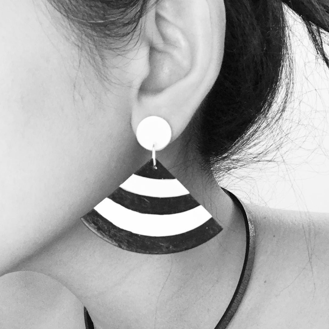 Abstract - Black and White Stripe Fans Earrings - Amare Wear - AMARE WEAR