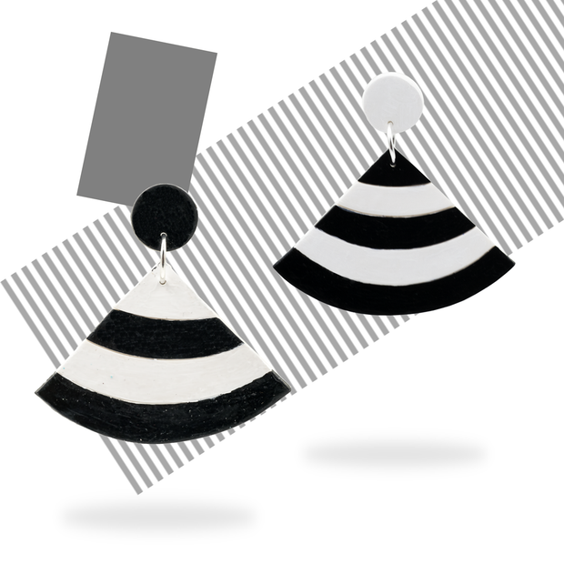 Abstract Pair - Hand Painted Black and White Stripe Fans Earrings - AMARE WEAR