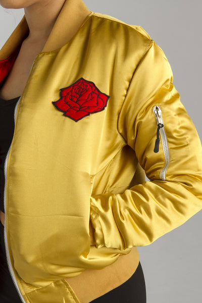 Rose from the Concrete Bomber Jacket - Gold