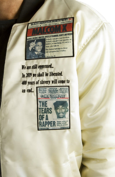 ALMVGHTY Bomber Jacket With Patches - Malcolm X, Tupac Close-Up