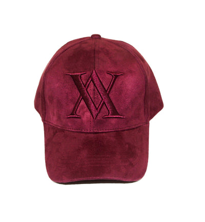 ALMVGHTY Embroidered Suede Dad Hat - Burgundy