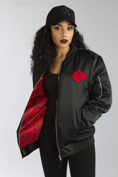 ALMVGHTY Black Rose From The Concrete - Bomber Jacket With Patches