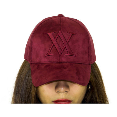 ALMVGHTY Embroidered Suede Dad Hat - Burgundy - Front