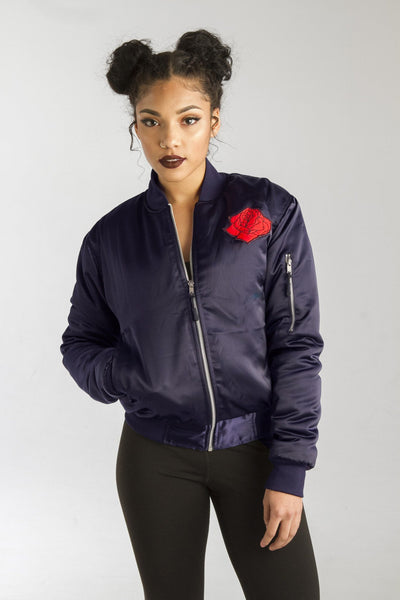 ALMVGHTY Navy Rose From The Concrete - Bomber Jacket With Patches