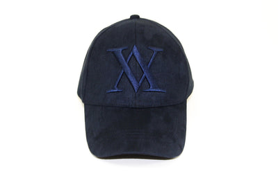 ALMVGHTY Embroidered Suede Dad Hat - Navy