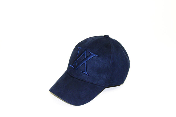 ALMVGHTY Embroidered Suede Dad Hat - Navy - Left