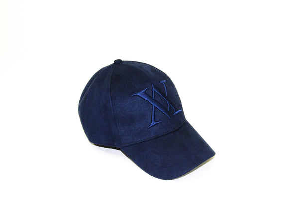 ALMVGHTY Embroidered Suede Dad Hat - Navy - Right