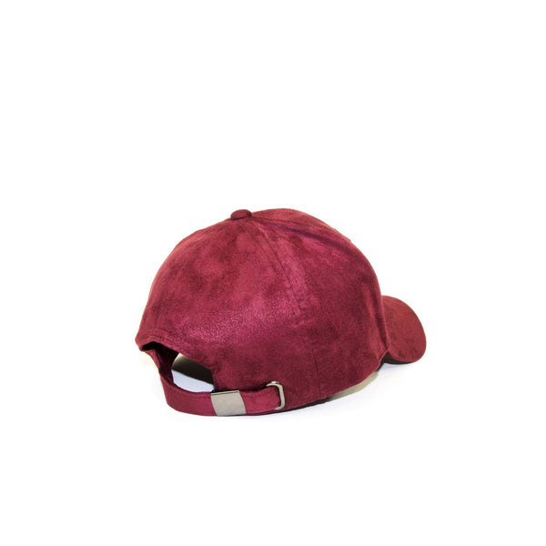 ALMVGHTY Embroidered Suede Dad Hat - Burgundy - Back
