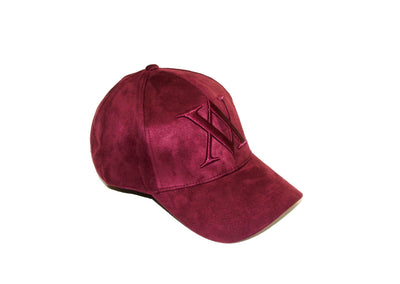 ALMVGHTY Embroidered Suede Dad Hat - Burgundy - Right