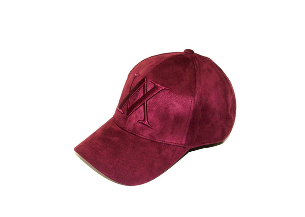 ALMVGHTY Embroidered Suede Dad Hat - Burgundy - Left