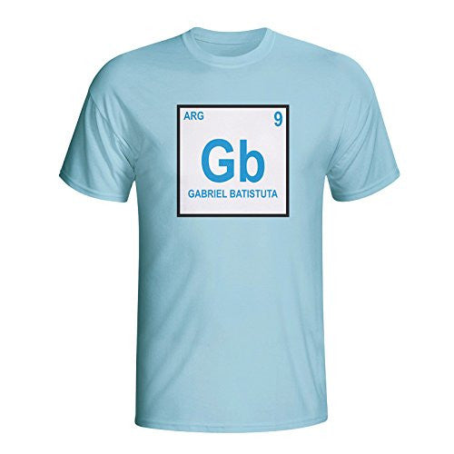 Gabriel Batistuta Argentina Periodic Table T-shirt (sky Blue)