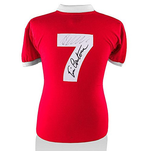 Eric Cantona & Cristiano Ronaldo Dual Signed Manchester United Shirt - Number 7 - Autographed Soccer Jerseys