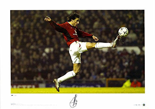 "Ruud van Nistelrooy Manchester United Autographed 23"" x 16"" Leaping Kick Photograph - ICONS - Fanatics Authentic Certified"
