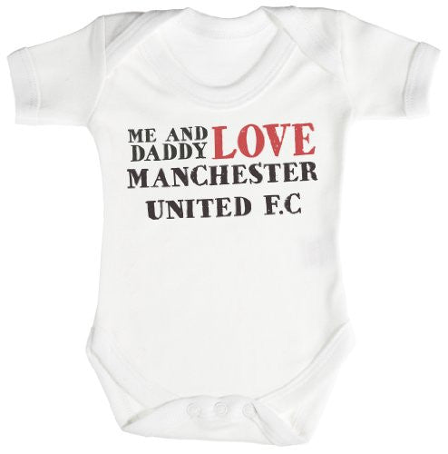 'Me & Daddy Text Love Manchester United' Baby Bodysuit