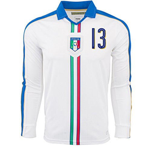 White #13 Nesta Away Match Long Sleeve Jersey EURO 2016