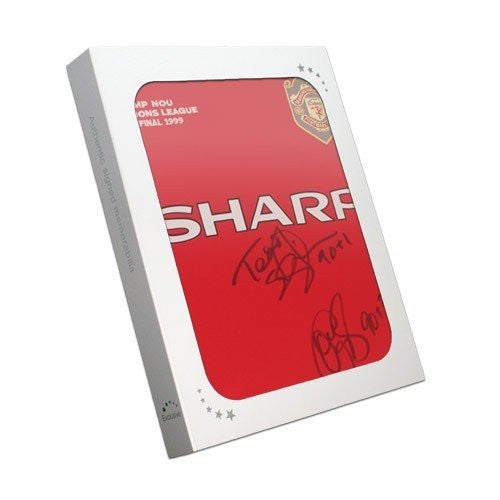 Teddy Sheringham & Ole Gunnar Solskjaer Signed Manchester United Shirt With Goal Times. In Gift Box