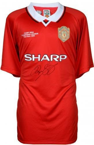 Framed Ryan Giggs Manchester United Autographed Red 1999 Champs Jersey Signed on Front