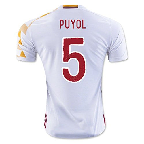 White #5 Spain Puyol Away Match Football Soccer Adult Jersey EURO 2016