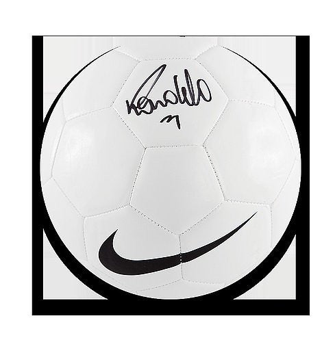 Ronaldo Autographed White Retro Nike Football - ICONS Authentic Signed Autograph