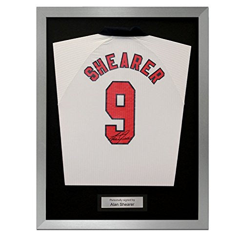 Framed Alan Shearer Signed England 1998 Jersey