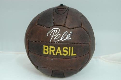 Pele Signed Leather Vintage Soccer Ball - PSA/DNA Certified