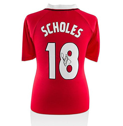 Paul Scholes Back Signed Manchester United Shirt - 1999 Champions League Final - Autographed Soccer Jerseys