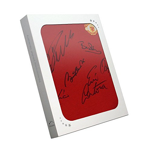 Manchester United Soccer Jersey Signed By Cristiano Ronaldo, Bobby Charlton, Eric Cantona, Denis Law, Bryan Robson and Ryan Giggs. In Gift Box