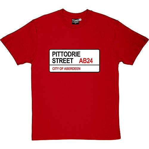 Aberdeen FC: Pittodrie Street AB24 Road Sign Red Men's T-Shirt