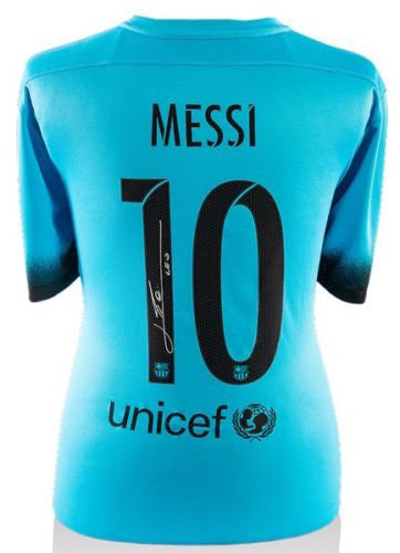 Lionel Messi Signed 2015-16 FC Barcelona Third Shirt