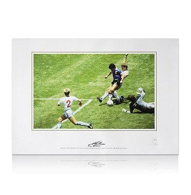 Autographed Diego Maradona Photo - 1986 World Cup Quarter Final - Autographed Soccer Photos