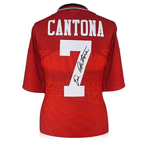 Eric Cantona Signed Manchester United 1996 Umbro Jersey In Deluxe Black Frame With Silver Inlay