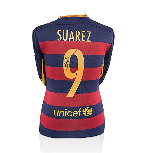 Luis Suarez Number 9 Signed Barcelona Shirt 2015/2016 - Long Sleeve - Autographed Jerseys