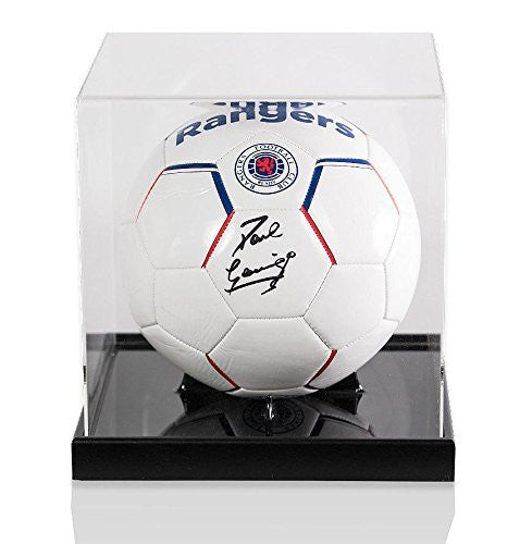 Paul Gascoigne Signed Football Rangers - Acrylic Display Case - Autographed