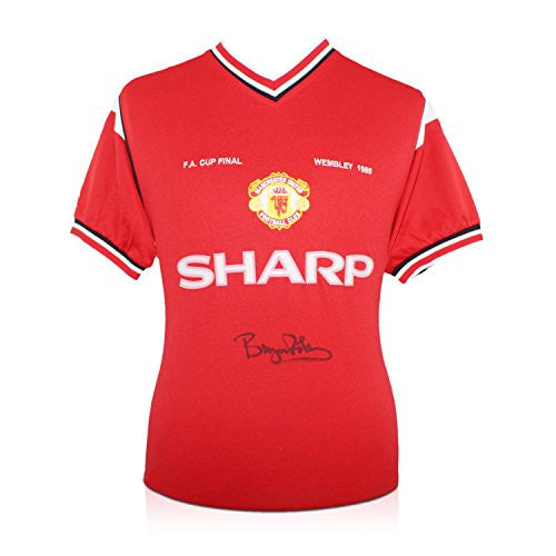 Bryan Robson Signed Manchester United 1985 FA Cup Winners Soccer Jersey
