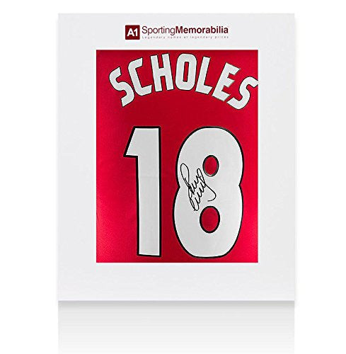 Paul Scholes Signed Manchester United Shirt Champions League - Gift Box