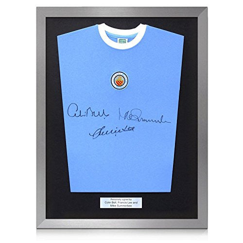 Framed Manchester City Soccer Jersey Signed By Colin Bell, Francis Lee And Mike Summerbee