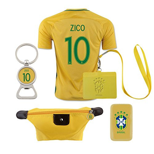 #10 Zico (6 in 1 Combo) Brazil Home Match Soccer Adult COPA 2016 Jersey