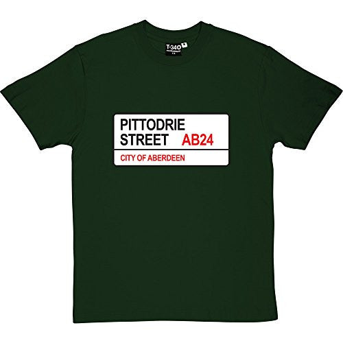 Aberdeen FC: Pittodrie Street AB24 Road Sign Racing Green Men's T-Shirt