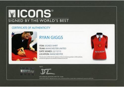 Ryan Giggs Manchester United Autographed Red 1996-98 Jersey Signed on Front