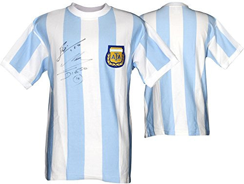 Lionel Messi & Diego Maradona Argentina Dual Autographed Blue Front Jersey - Fanatics Authentic Certified