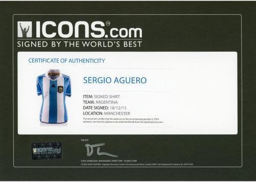 Framed Sergio Aguero Argentina Autographed 2015-16 Jersey