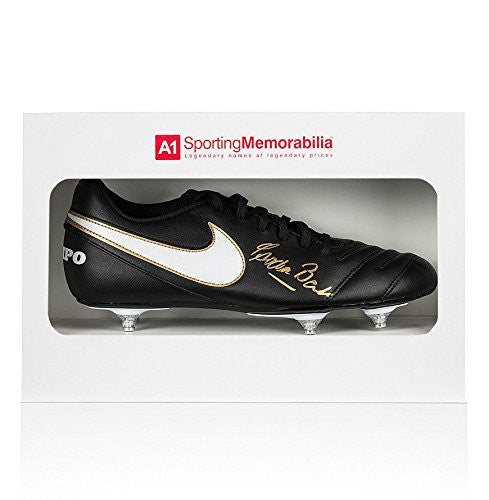 Gordon Banks Signed Football Boot Nike - Gift Box Autograph Cleat - Autographed Soccer Cleats