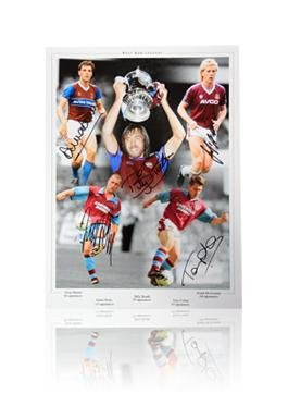 Autographed Billy Bonds Photo - Tony Cottee Frank McAvennie Alvin Martin Julian Dicks West Ham