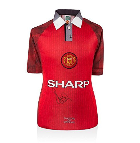 Paul Scholes Front Signed Manchester United Shirt - Theatre Of Dreams - Autographed Soccer Jerseys