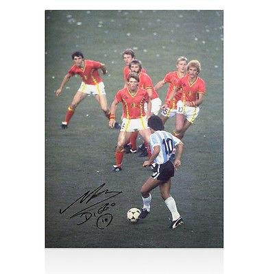 Diego Maradona Signed Photo - Takes On Belgium