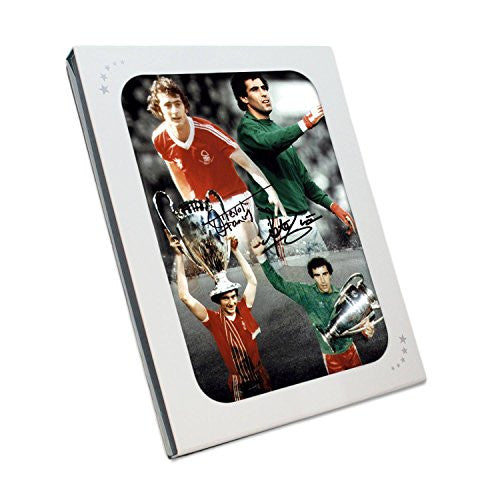 Peter Shilton & Trevor Francis Signed Nottingham Forest Photo. In Gift Box