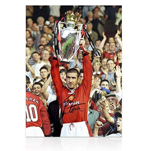 Eric Cantona Signed Manchester United Photo - Premier League Trophy