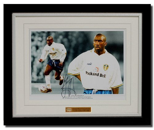 Jimmy Floyd Hasselbaink hand signed Leeds montage (PP276)
