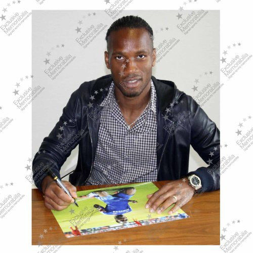 Framed Didier Drogba Signed Chelsea Football Photo: Champions League Celebration